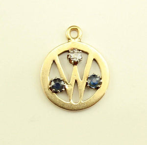 "Initial ""W"" 14 K Gold Pendant with Sapphires and Diamond - Laura Wilson Gallery"