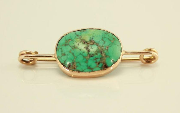 Turquoise and 14 k Gold European Pin Brooch