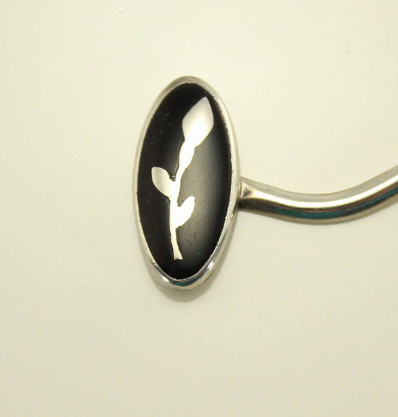 Handmade Jet and Sterling Silver Inlay Shawl Pin - Laura Wilson Gallery