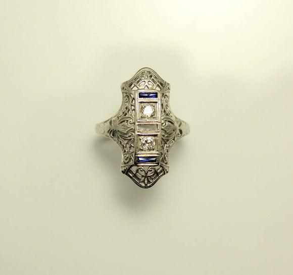 18 Karat White Gold Victorian or Edwardian Diamond and Sapphire Dinner Ring - Laura Wilson Gallery