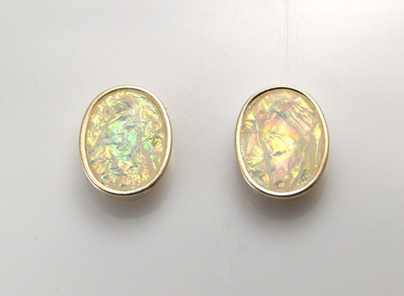 Magnetic White Faux Opal 13 x 18 mm Non Pierced Clip Earrings - Laura Wilson Gallery