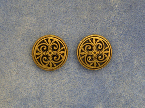 Bronze Gothic Button Magnetic Non Pierced Clip Earrings - Laura Wilson Gallery