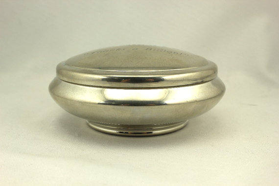 Engraved Salisbury Pewter 4 inch Queen Anne Jewelry Box and Lid
