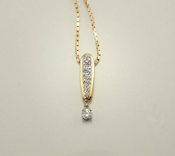 Vintage 14 Karat Gold and Diamond Exclamation Point Pendant