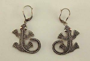 Vintage Balinese Sterling Silver Lizard Earrings - Laura Wilson Gallery