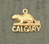 Vintage 14 k Yellow Gold Calgary Beaver Charm Pendant 1.54 Grams - Laura Wilson Gallery