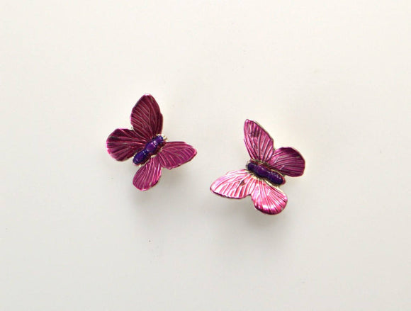 Handmade Magnetic Non Pierced Clip Hand Painted Pink Butterfly Earrings - Laura Wilson Gallery