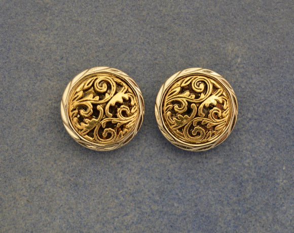 Gold And Silver Floral Button Magnetic Non Pierced Clip Earrings - Laura Wilson Gallery