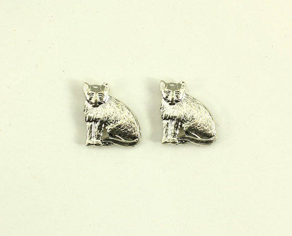 Tiny Cat Magnetic Earrings in Gold or Silver - Laura Wilson Gallery
