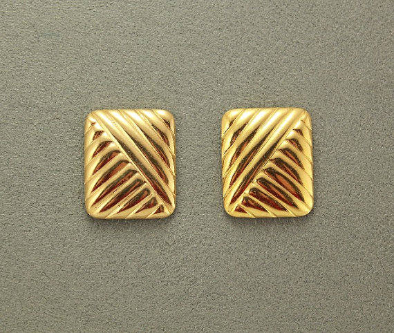 Embossed Silver 18 x 20 mm Rectangle Magnetic Non Pierced Clip Earrings