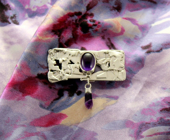Handmade Original OOAK Design Magnetic Fused Silver Brooch With Amethyst Cabochon - Laura Wilson Gallery