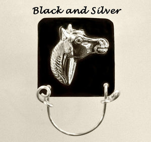 Gold or Silver Horse on Colored Aluminum Magnetic Eyeglass Holder - Laura Wilson Gallery