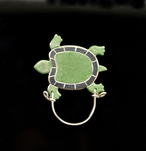 Hand Painted Green and Silver Flat Turtle Magnetic Eyeglass Holder - Laura Wilson Gallery