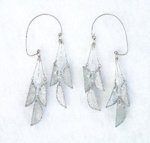 Handmade Silver Lame Fabric Non Piercing Ear Wraps