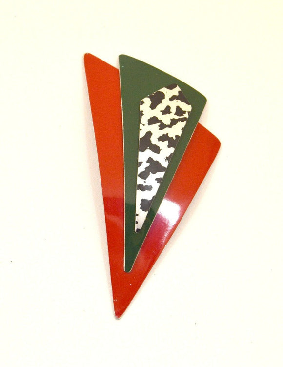 Handmade Original Design Red, Green, Red, Silver and Black Aluminum Triangle Magnetic Brooch