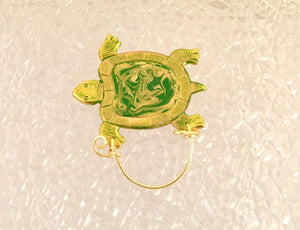 Hand Painted Green and Gold Brass Flat Turtle Magnetic Eyeglass Holder - Laura Wilson Gallery