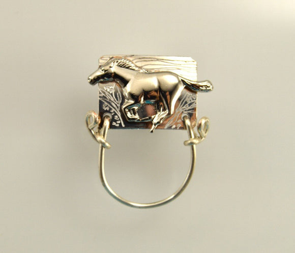 Silver Running Horse Magnetic Eyeglass Holder or Brooch - Laura Wilson Gallery