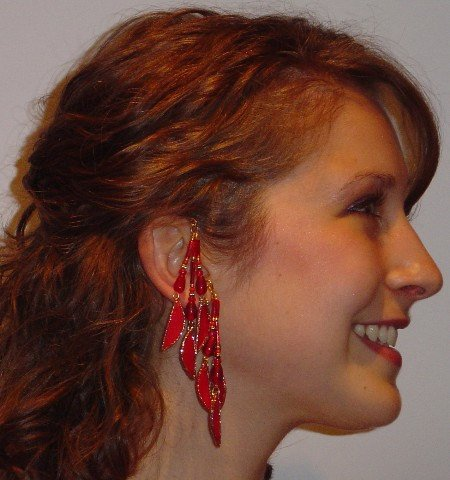 Handmade Red and Gold Ear Non Pierced Ear Wraps