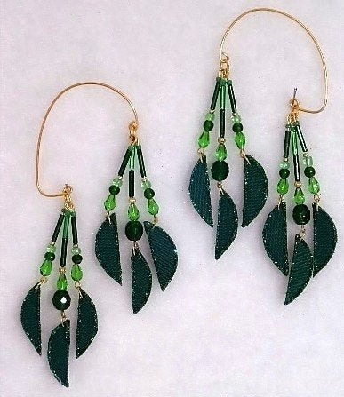 Handmade Emerald Green Non Pierced Fabric and Glass Beaded Ear Wraps