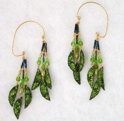 Handmade Beaded Fabric Avocado Green Non Pierced Ear Wraps