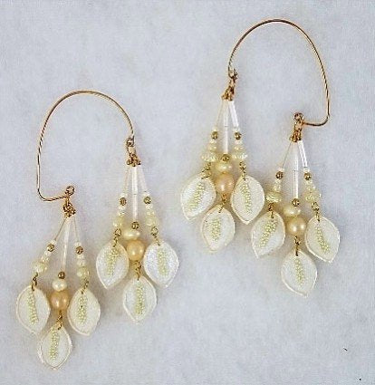 Handmade Pearl and White Fabric Non Pierced Ear Wraps