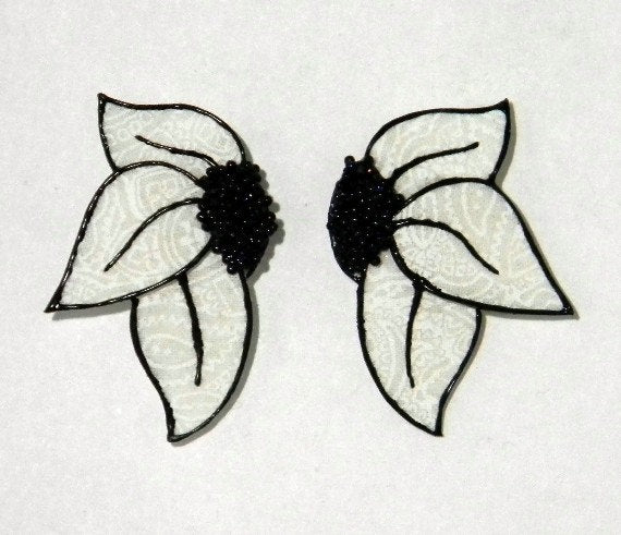 Handmade Black and White Fabric Magnetic Non Pierced or Pierced Earrings