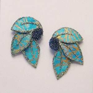 Fabric Magnetic Leaf Earrings in Turquoise and Gold - Laura Wilson Gallery