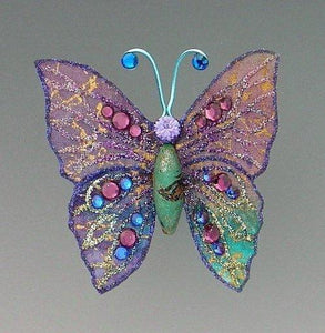 Turquoise and Purple Butterfly Brooch - Laura Wilson Gallery