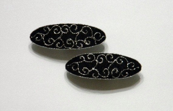 Handmade and Hand Painted Silver and Black Fabric Hair Barrettes - Laura Wilson Gallery