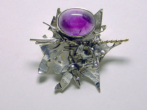 Handmade One of a Kind Amethyst Sterling Silver Brooch or Pendant
