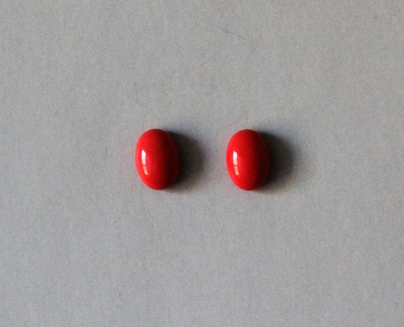 10 x 14 mm Oval Coral Glass Magnetic or Pierced Earrings - Laura Wilson Gallery