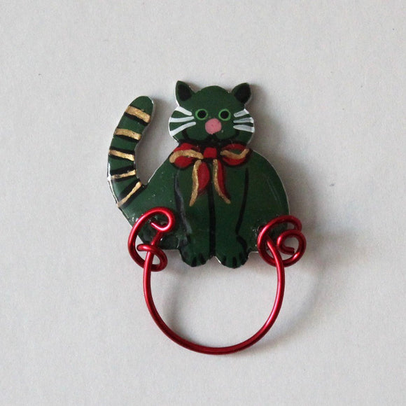 Christmas Cat Magnetic Eyeglass Holder in Red or Green - Laura Wilson Gallery