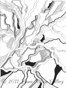 Black and White Abstract No.1 Original Pen and Ink - Laura Wilson Gallery