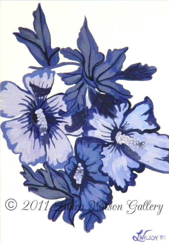 Vintage Blue Flower Original Acrylic Painting - Laura Wilson Gallery