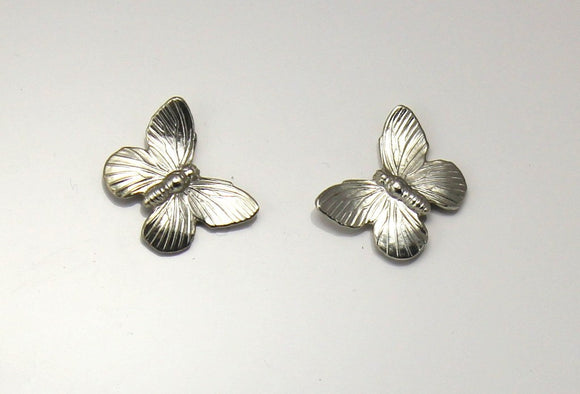 Magnetic or Pierced Gold Plated or Silver Butterfly Earrings - Laura Wilson Gallery