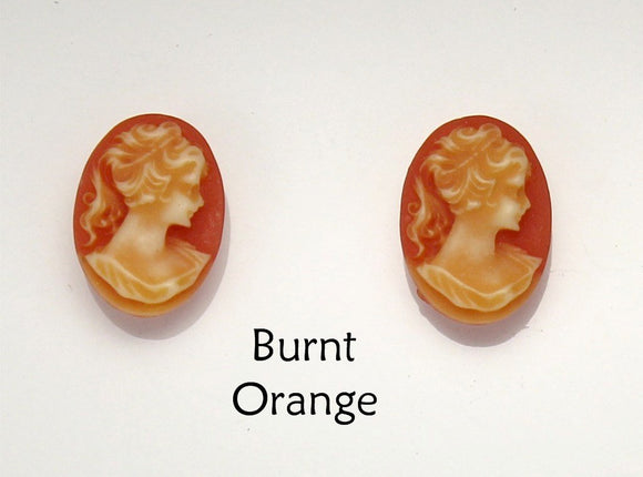 Brown or Burnt Orange Cameo Magnetic Earrings - Laura Wilson Gallery