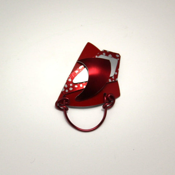 Red White and Silver Triangle Abstract Magnetic Eyeglass Holder - Laura Wilson Gallery