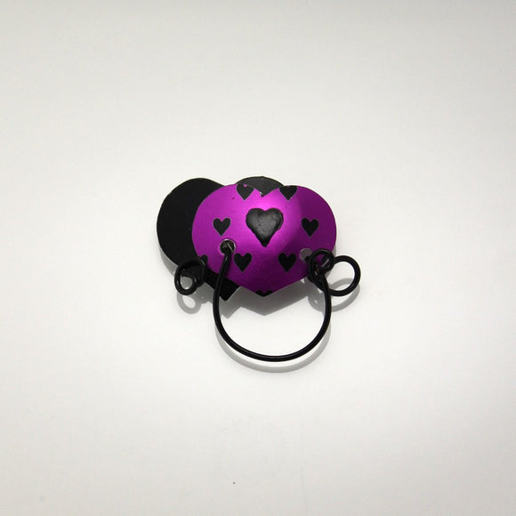Double Heart Magnetic Eyeglass Holder in Fuchsia and Black - Laura Wilson Gallery