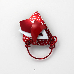 Triangle Magnetic Eyeglass Holder in Reds White and Polka Dots - Laura Wilson Gallery