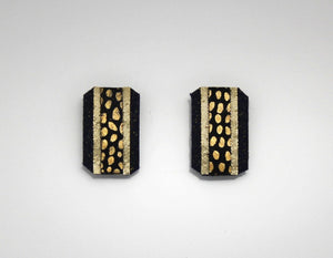 Magnetic Earrings Black and Gold Fabric - Laura Wilson Gallery