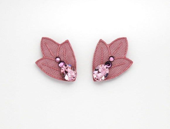 Pink Tulip Fabric Magnetic Earrings