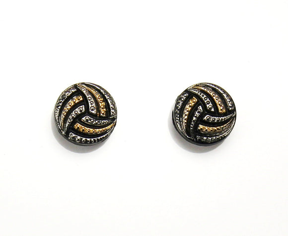 Black Gold and Silver Glass Button Magnetic or Pierced Earrings 13 mm - Laura Wilson Gallery
