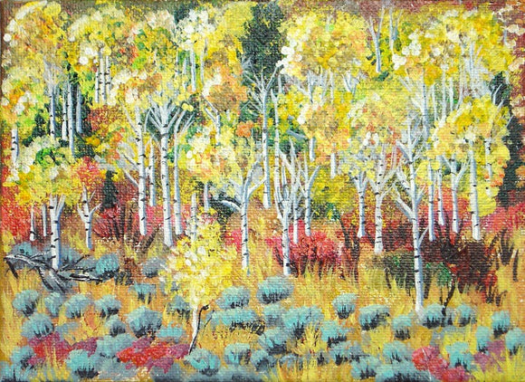 Original Acrylic Painting of Aspen Trees and Sage on Canvas Board - Laura Wilson Gallery