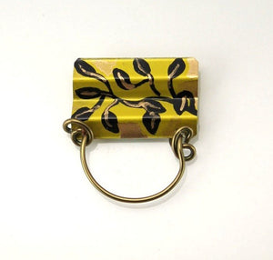 Black and Gold Leaves Hand Painted Magnetic Eyeglass Holder - Laura Wilson Gallery