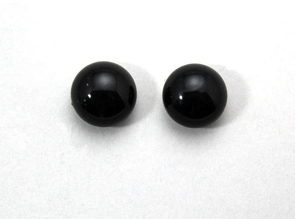 13 mm Black Button Magnetic or Pierced Earrings - Laura Wilson Gallery