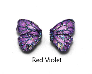 Hypoallergenic Handmade Blue, Purple, or Violet Magnetic or Pierced Fabric Butterfly Earring - Laura Wilson Gallery
