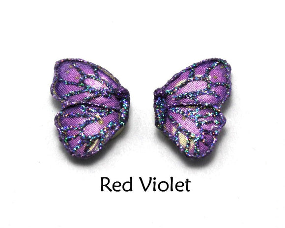 Hypoallergenic Handmade Blue, Purple, or Violet Magnetic or Pierced Fabric Butterfly Earring