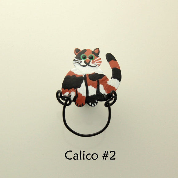 Handmade And Hand Painted Calico Cat Custom Made  Magnetic Eyeglass Holder - Laura Wilson Gallery