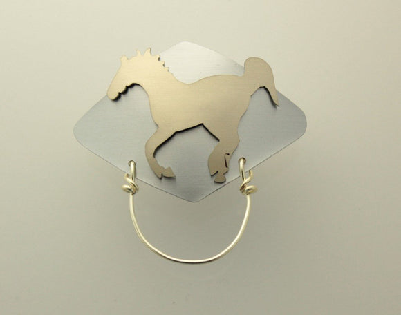 Magnetic Eyeglass Or Badge Holder Gold and Silver Running Horse OOAK Custom Order Original Design - Laura Wilson Gallery