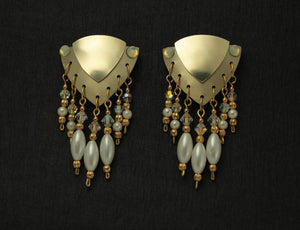 Magnetic Pearl Drop Triangle Earrings in Gold Aluminum with Swarovsky Crystals - Laura Wilson Gallery